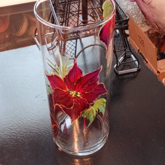 Hand Painted Clear Glass Vase